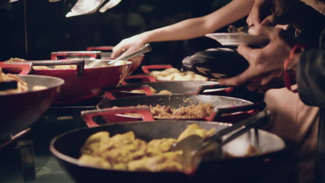 catering food - buffet stock videos & royalty-free footage