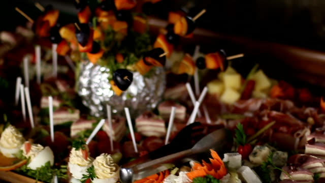 catering food wedding event table - caterer stock videos and b-roll footage
