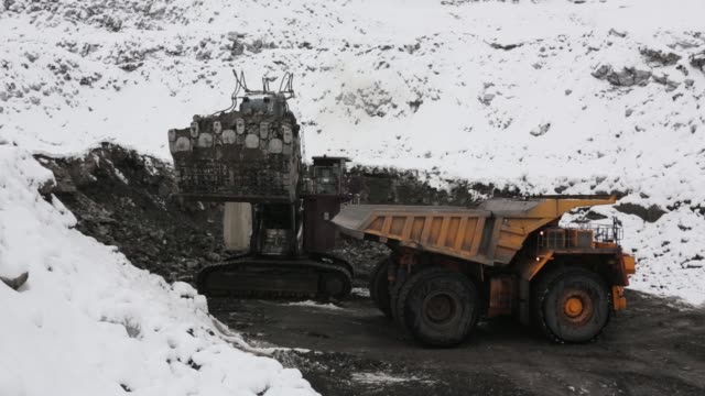 a caterpillar inc bucyrus excavator loads coal onto a belaz oao dump truck at the raspadsky open pit mine operated by evraz plc in mezhdurechensk... - caterpillar inc video stock e b–roll