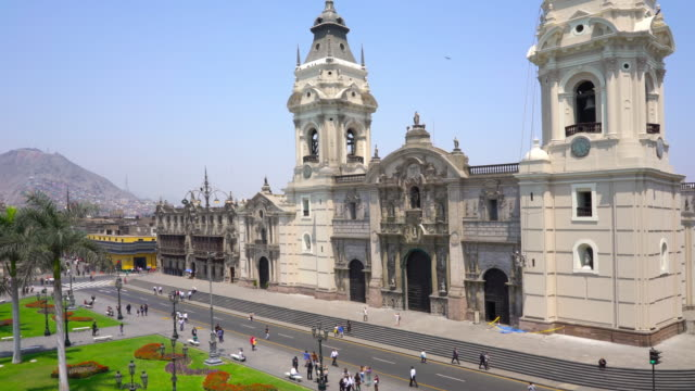 cathedral at plaza de armas in lima, peru - lima peru stock videos and b-roll footage