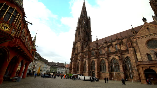 Cathedral Freiburg in Germany, panning
