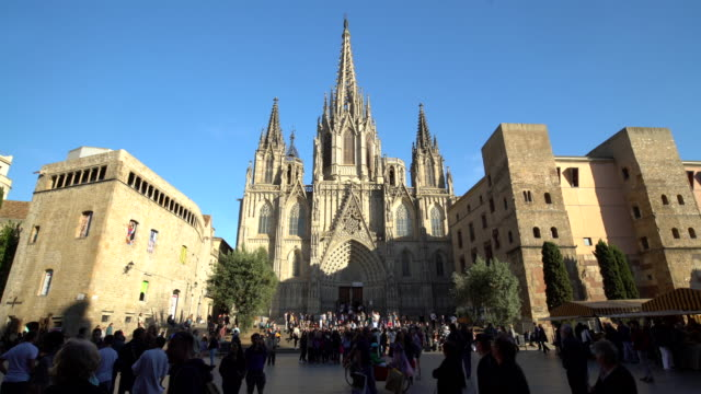 cathedral in barcelona - monument stock videos & royalty-free footage