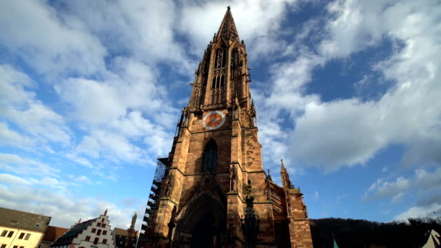 Cathedral in Freiburg in Germany, time lapse