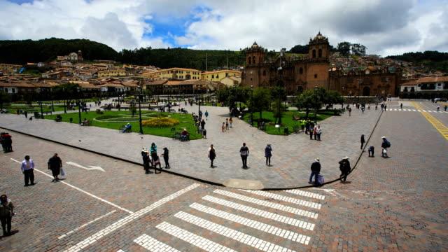 cathedral in plaza de armas cusco latin america - south america video stock e b–roll