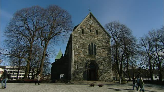 cathedral in stavanger, norway - stavanger stock videos & royalty-free footage