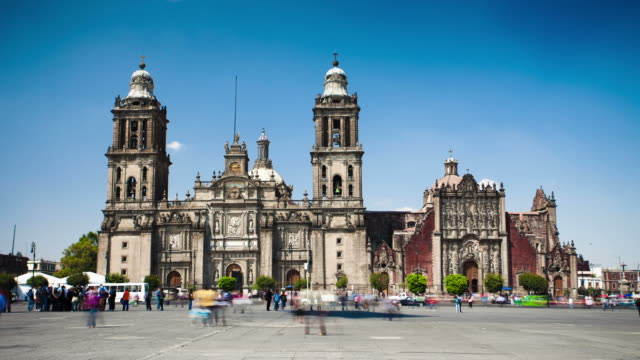 time lapse: cathedral metropolitana, mexico city - cathedral stock videos & royalty-free footage
