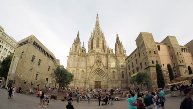 cathedral of barcelona in spain - gothic quarter barcelona stock videos and b-roll footage