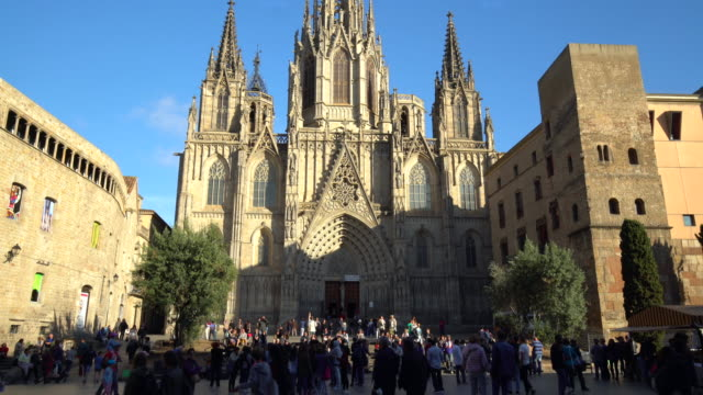 cathedral of barcelona - gothic quarter barcelona stock videos and b-roll footage