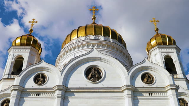 cathedral of christ the savior, moscow, russia - cathedral stock videos & royalty-free footage