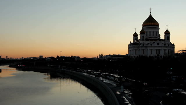 cathedral of christ the saviour, moscow, russia - river moscva stock videos & royalty-free footage