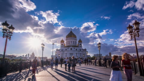 cathedral of christ the saviour time lapse. moscow landmark. russia - moscow russia stock videos & royalty-free footage