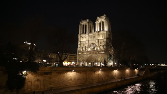 cathedral of notre dame de paris, france. - river seine stock videos & royalty-free footage