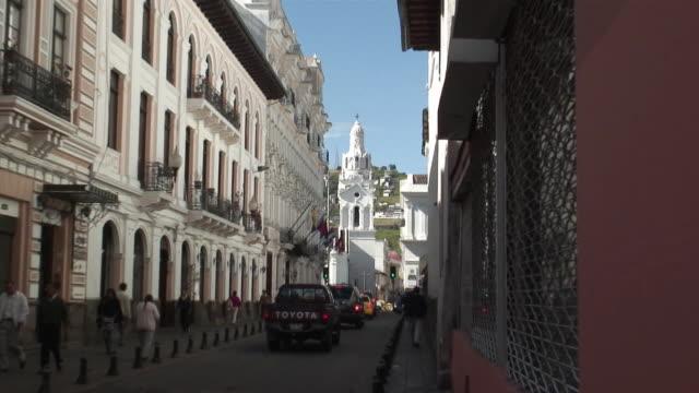 WS ZO Cathedral of Quito and narrow street / Quito, Ecuador