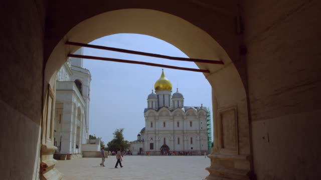 cathedral of the annunciation as seen though archway - onion dome stock videos and b-roll footage
