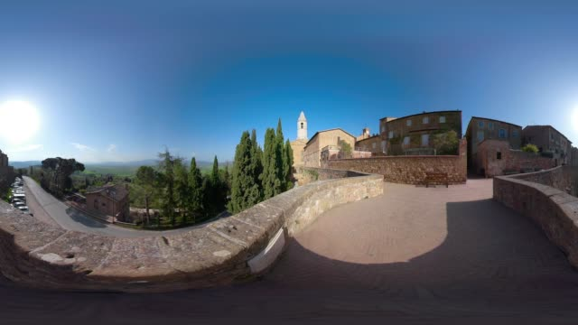 360 vr / cathedral santa maria assunta of pienza - 360 video stock videos & royalty-free footage