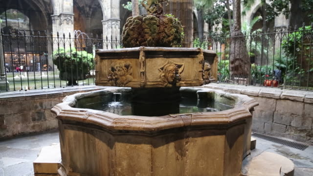 cathedral (cathedral of santa eulalia), view of a fountain in the cloister, barcelona, spain - ゴシック地区点の映像素材/bロール