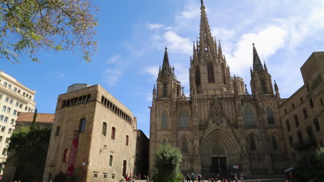 cathedral (cathedral of santa eulalia), view of the main facade, barcelona, spain - gothic quarter barcelona stock videos and b-roll footage