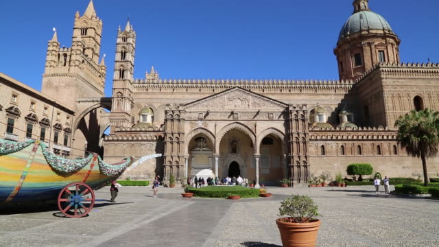 cathedral, view of the south side of the cathedral, palermo, sicily. - sicily stock videos and b-roll footage