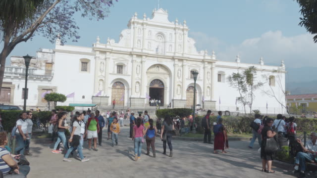 Cathedral white façade. Antigua Guatemala main square town
