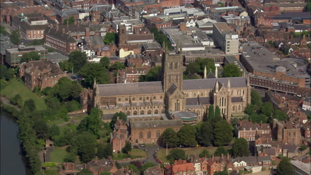 aerial, cathedral, worcester, england - circa 13th century stock videos and b-roll footage