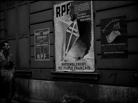 cathedrale norte dame w/ women walking sidewalk leading to pont de l archeveche dramatization 'andre suzanne dubois' looking at rpf poster on... - communist party stock videos and b-roll footage