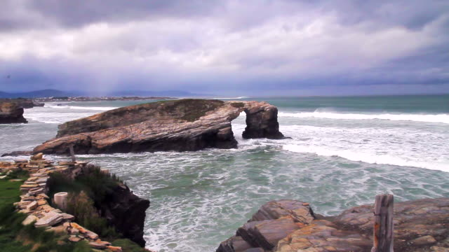 cathedrals beach - galicia stock videos & royalty-free footage