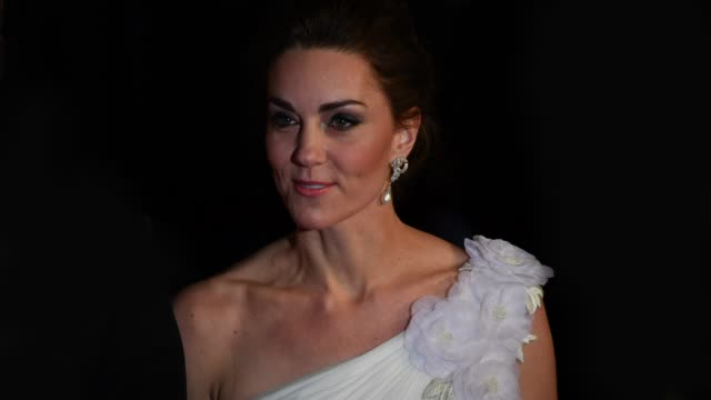 catherine duchess of cambridge at ee british academy film awards 2019 on february 7 2019 in london england - british academy film awards stock videos & royalty-free footage