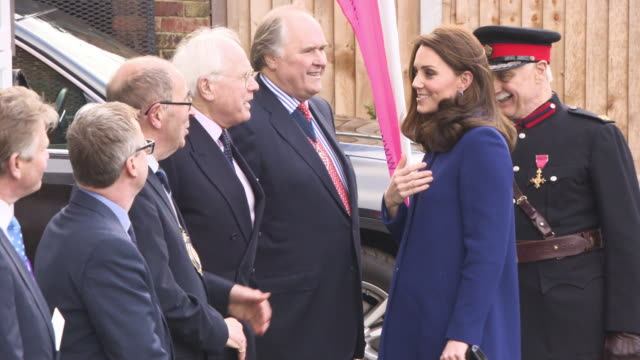 catherine duchess of cambridge at the opening action on addiction treatment centre at bafta on february 07 2018 in london england - herzogin stock-videos und b-roll-filmmaterial