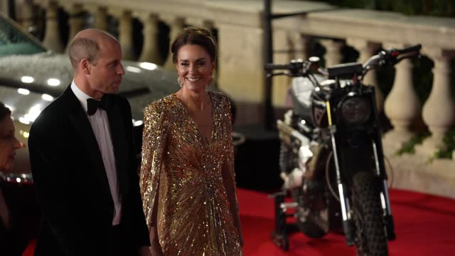 """catherine, duchess of cambridge, prince william attends the """"no time to die"""" world premiere at royal albert hall on september 28, 2021 in london,... - premiere event stock videos & royalty-free footage"""