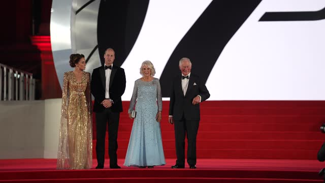 """catherine, duchess of cambridge, prince william, duke of cambridge, camilla, duchess of cornwall and prince charles, prince of wales attends the """"no... - premiere event stock videos & royalty-free footage"""