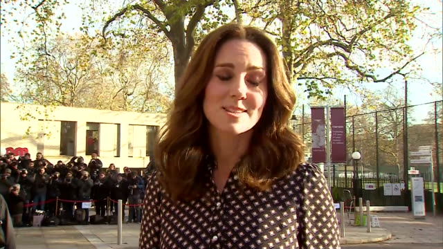 catherine duchess of cambridge saying herself and prince william are absolutely thrilled at the news of prince harry and meghan markle's engagement - media interview stock videos and b-roll footage