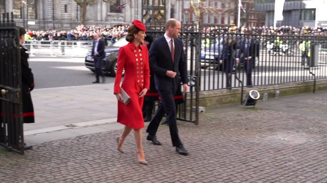 catherine duchess of cambridge william prince william duke of cambridge arrive at the commonwealth service at westminster abbey on commonwealth day... - british empire stock videos & royalty-free footage
