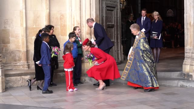 catherine duchess of cambridge william prince william duke of cambridge arrive at the commonwealth service at westminster abbey on commonwealth day... - キャサリン妃点の映像素材/bロール