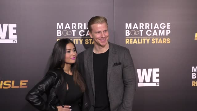 catherine giudici & sean lowe at the we tv celebrates the premiere of marriage boot camp reality stars and ex-isled at le jardin nightclub in... - reality tv stock videos & royalty-free footage