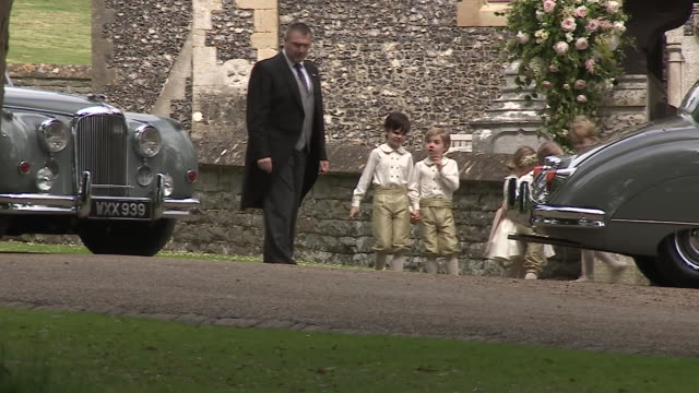 Catherine Middleton Dutchess of Cambridge arrives ahead of her younger sisters Pippa Middleton's wedding with Bridesmaids and Page boys