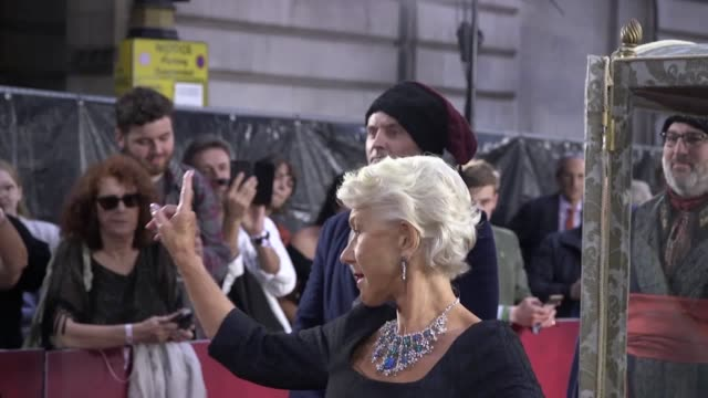 catherine the great premiere with dame helen mirren, jason clarke and kevin mcnally. the actress arrived in a sedan chair to the red carpet. the... - helen mirren stock videos & royalty-free footage