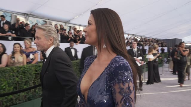 catherine zeta jones at the 25th annual screen actors guild awards - social ready content at the shrine auditorium on january 27, 2019 in los... - screen actors guild awards stock-videos und b-roll-filmmaterial