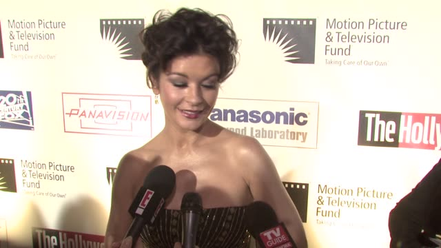catherine zeta jones on being a part of the evening what she's performing tonight her first memory of being on broadway how she'd been preparing for... - motion picture & television fund stock videos & royalty-free footage