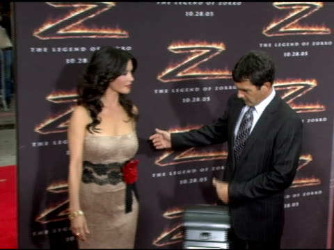 catherine zeta-jones and antonio banderas at the 'the legend of zorro' premiere at the orpheum theatre in los angeles, california on october 16, 2005. - orpheum theatre stock videos & royalty-free footage