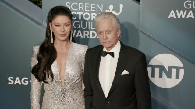 catherine zeta-jones and michael douglas at the 26th annual screen actorsguild awards - arrivals at the shrine auditorium on january 19, 2020 in los... - michael douglas stock videos & royalty-free footage