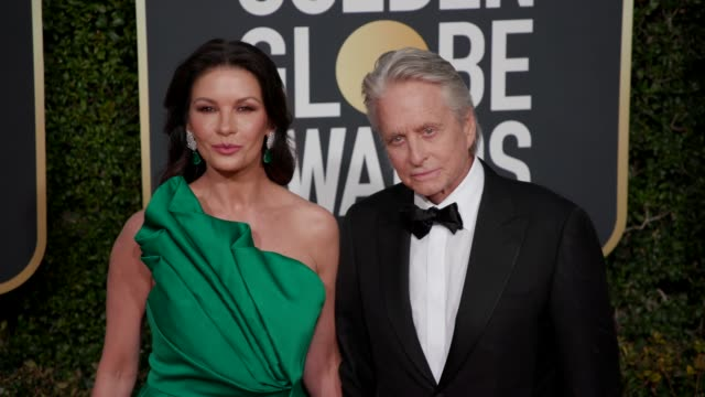 catherine zeta-jones and michael douglas at the 76th annual golden globe awards - arrivals- 4k footage at the beverly hilton hotel on january 06,... - michael douglas stock videos & royalty-free footage