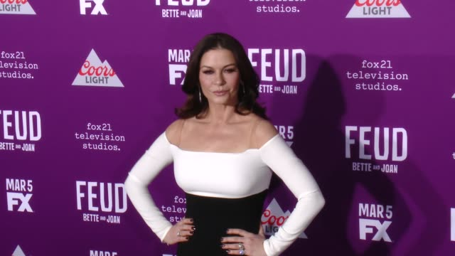 """catherine zeta-jones at premiere of fx network's """"feud: bette and joan"""" in los angeles, ca 3/1/17 - fx network stock videos & royalty-free footage"""