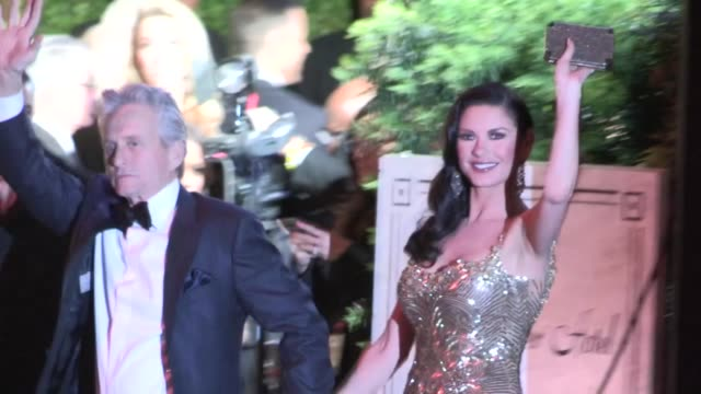 catherine zeta-jones & michael douglas arrive at the 2013 vanity fair oscar party in west hollywood, 02/24/13 - vanity fair oscar party stock videos & royalty-free footage