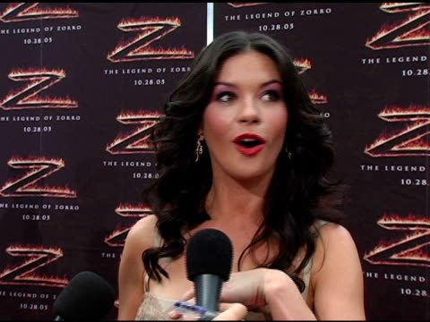 catherine zeta-jones on her dream of becoming a hollywood actress at the 'the legend of zorro' premiere at the orpheum theatre in los angeles,... - orpheum theatre stock videos & royalty-free footage