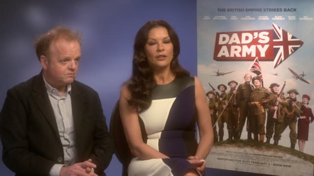 catherine zeta-jones, toby jones on translating the film to michael douglas, her son loving the film, universal story at 'dad's army' - junket at the... - michael douglas stock videos & royalty-free footage