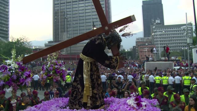 catholic believers in venezuela take part in the saint paul of the nazarene procession on ash wednesday as part of the commemorations for holy week - holy week stock videos & royalty-free footage