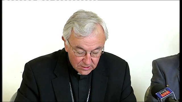 archbishop vincent nichols england west yorkshire leeds int archbishop of westminster vincent nichols press conference sot we wish to address this... - reconciliation stock videos & royalty-free footage