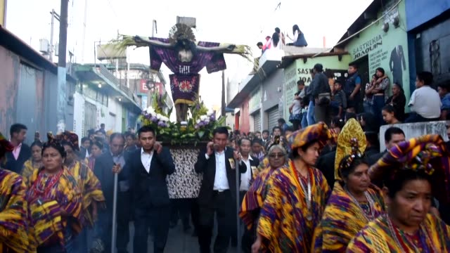 catholic faithful participate in the santo entierro the holy burial procession during good friday as part of the holy week celebrations in san juan... - holy week stock videos & royalty-free footage
