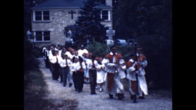 1953 catholic processional - priest stock videos & royalty-free footage