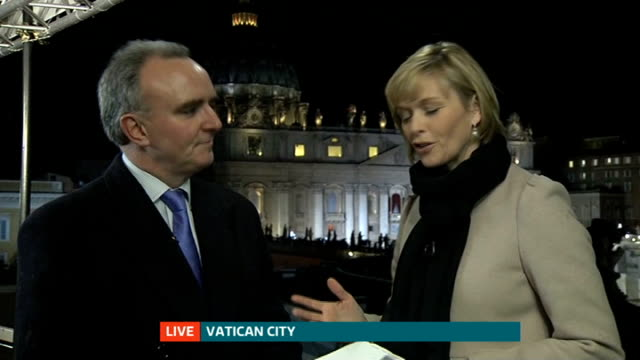 election of new pope italy rome vatican city st peter's square james mates live interview from vatican city sot - st peter's square stock videos & royalty-free footage